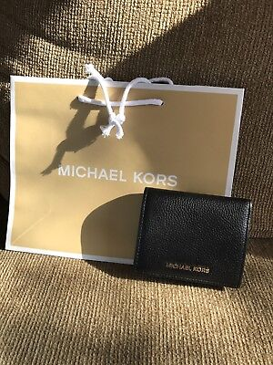 081d184a9a60 NWT Michael Kors Mercer Black Leather Flap Card Holder Wallet Gold-tone  Hardware