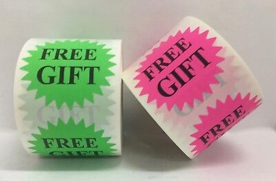 "1 Roll Green (only) FREE GIFT 2"" Starburst Retail Mailing Stickers / 300 Labels"