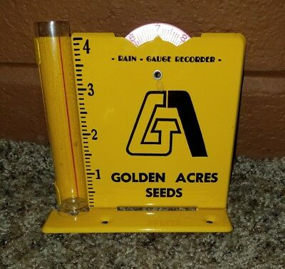 Vintage Golden Acres Seeds Advertising Rain Gauge Recorder