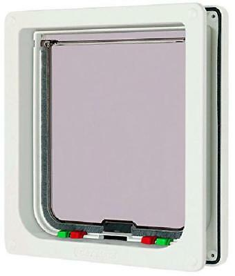 Large 4 Way Locking Lockable Cat Flap Door Small Dog Pet In Out White Safe Upvc