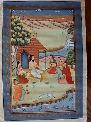 Indian Vintage Silk  Painting/hand Coloured Print 80Cms X 55Cms