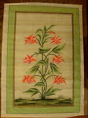 Indian  Botanical  Painting /hand Coloured Print  On  Silk  80Cms X 55Cms