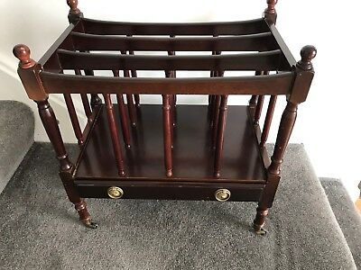 Canterbury Magazine Rack with Drawer. Brass Fittings & Casters. Mahogany