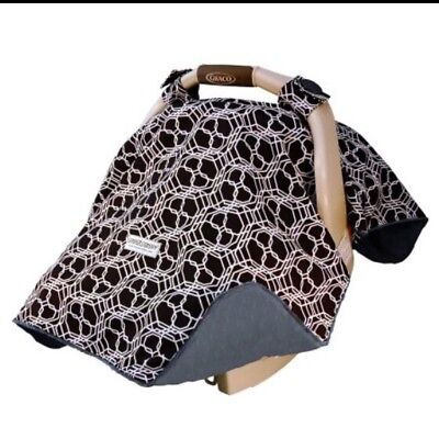 Original Carseat Canopy Infant Baby Car Seat Cover Black White W Minky Gray