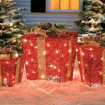 set of 3 pre lit lighted red christmas gift boxes presents outdoor yard decor