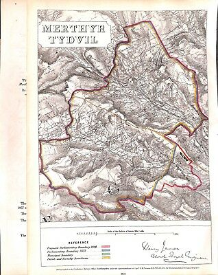 Merthyr Tydvil.1868.Boundary Commissioners report.Map.Wales.Antique.Genuine