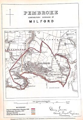 Pembroke.Wales.Milford.1868.Boundary Commissioners report.Map.Antique.Genuine