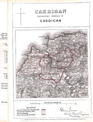 Cardigan.Wales.Boundary Commissioners report.1868.Map.Antique.Plan