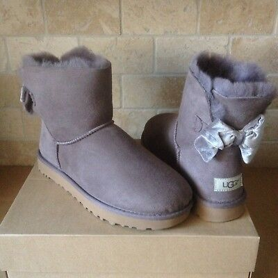 7effefc8a36 UGG MINI BAILEY Bow Ii Velvet Suede Sheepskin Boots Booties Size Us ...