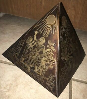 """8"""" Vintage Egyptian Mixed Metal Pyramid Etched Brass/Copper/Bronze Ancient Egypt"""