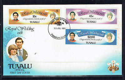 Tuvalu 1981 Royal Wedding Of Prince Charles & Lady Diana Spencer FDC - MUH
