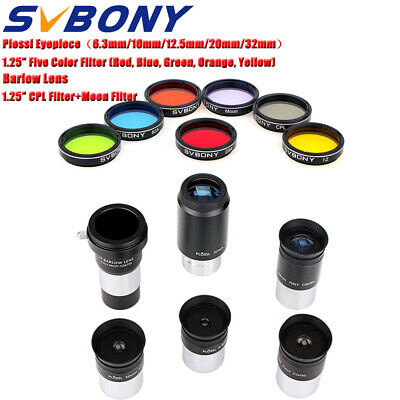 """1.25"""" PLOSSL Eyepieces+2X Barlow Lens+Color Filter+CPL/Moon Filters to Telescope"""