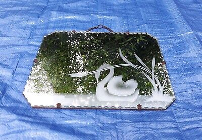 VINTAGE ART DECO SCALLOPED EDGE WALL HANGING MIRROR with ETCHED SWAN