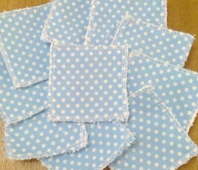 Reusable Make Up Remover Pads X 10 100% Cotton Baby Blue Polka Dot Spotted Eco