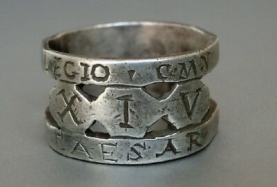 GENUINE Ancient Roman Legionary Officer Silver ring Legio XIV Gemina M. Victrix