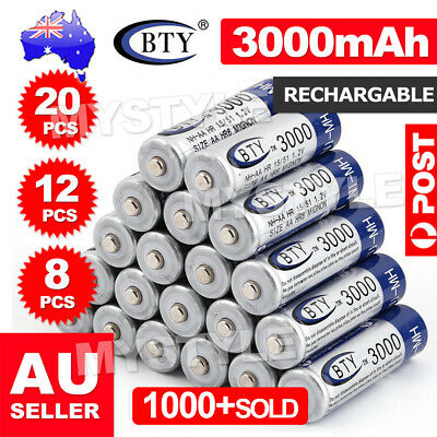 4-20pcs 3000mAh BTY AA Rechargeable Battery Recharge Batteries NI-MH 12V