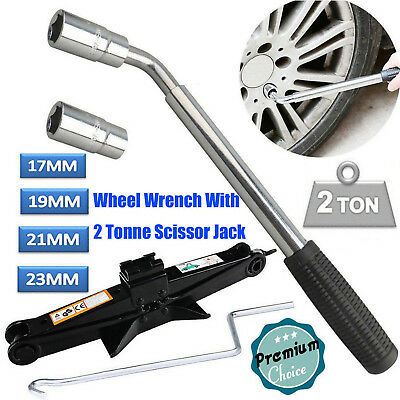Extendable Wheel Brace Wrench Telescopic Car Van Socket Tyre Nut+2T Scissor Jack