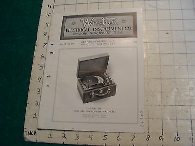 orig. 1915 WESTON Electric inst. co bulletin: PORTABLE A.C. and D.C. WATTMETERS