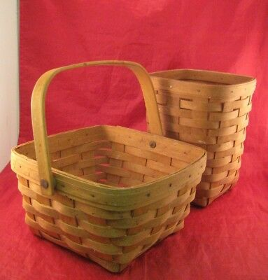 J51S 2 Longaberger Baskets (1)Square/ Swing Handle & (1)Tall Basket  Dresden, Oh