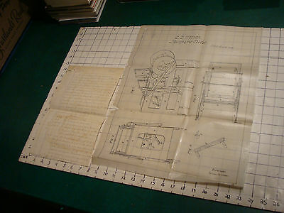 original HAND WRITTEN patent ap 1850 w drawing C S WATSON for NEWSPAPER FOLDING