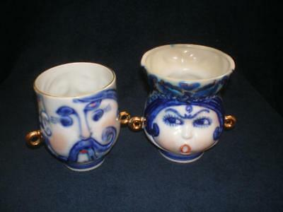 Ukrainians man and woman. Antique USSR russian porcelain figurine Mug cap 7284c