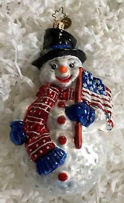 Christopher Radko Glass Christmas Ornament-FROSTY N' FREE PATRIOTIC SNOWMAN