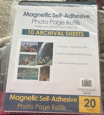 """Magnetic Self-Adhesive Photo Page Refills 10 Archival Sheets 8"""" x 10"""" Sealed"""