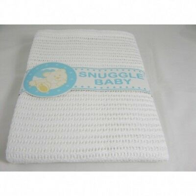 Snuggle Baby White Cellular Cot Bed Blanket 180 x 140 cm