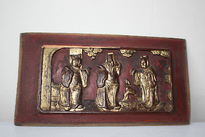 Chinese Wooden Carved Figure with Gilt Paint on Wooden Plaque Piece