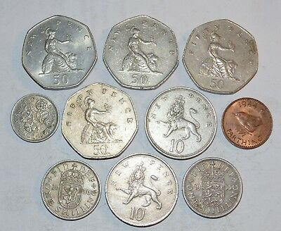 VINTAGE GREAT BRITAIN coins lot 50 10 NEW SIX PENCE FARTHING UK 1944 - 1983