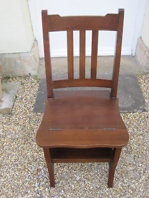 Hard Wood Metamorphic Library Chair Steps with Rail Back