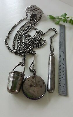 Antique Gun Metal Sewing Chatelaine Pin Cushion, Thimble holder and needle case