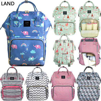 US LAND Multifunctional Mom Diaper Bags Mummy Backpack Changing Bag Baby Nappy
