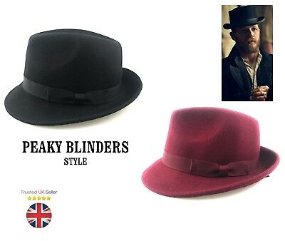 Trilby | Fedora  Hat with Grosgrain Band Handmade 100% Wool  Black Burgundy NEW