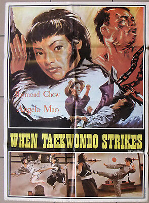 "When Taekwondo Strikes (Angela Mao) 39x27"" Lebanese Movie Poster 70s"
