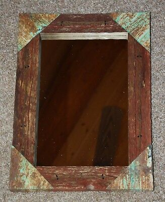 RUSTIC RED BARNWOOD Framed Mirror Barbed Wire Rusty Tin Accent Cabin ...