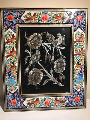 beautiful painting of birds made with copper. handmade frame painted by hand