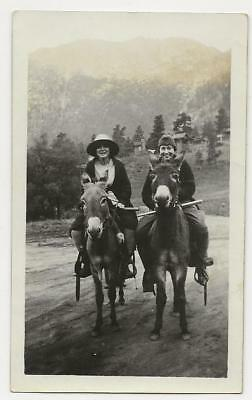 Vintage Photo Snapshot Two Smiling Women Ride Mules in the Mountains