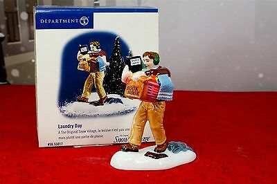 Dept 56 Snow Village Laundry Day Figurine Man Dad Chores Basket #55017 w/ Box