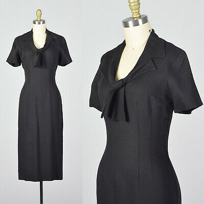 S 1950s Black Pencil Dress Pussybow Short Sleeves Linen Rayon LBD Day Wear 50s