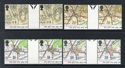 Gb Mnh 1991 Sg1578-1581 Bicentenary Of Ordnance Survey Gutter Pairs