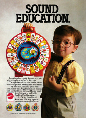 Mattel See-and-Say pull-string toy print ad 1988 Cute Boy in Suspenders