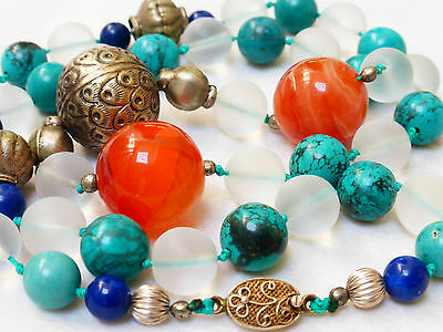 Chinese Vintage Turquoise, Carnelian, Crystal Rock Bead Necklace, Silver Clasp