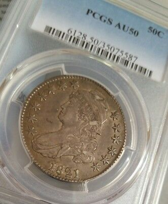 1821 Capped Bust Silver Half Dollar Choice AU  Condition PCGS crusty original