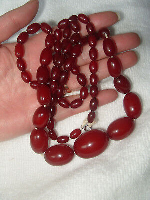 """Antique Cherry Amber Beads Large Bead 30"""" Long Necklace 55.2g"""