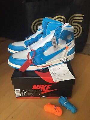 best sneakers 1a12f a3a84 Nike Air Jordan 1 x Off White Powder Blue University UNC US 12 EU 46 UK