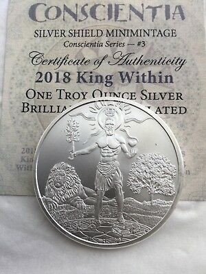 2018 1 oz Silver Shield Round - MiniMintage King Within