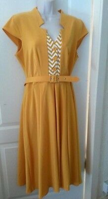 Miss Candyfloss Allegra Dress Size L Large Mustard Yellow Repro Vintage Swing