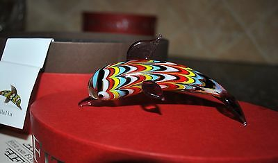 NEW FITZ & FLOYD GLASS MENAGERIE DALIA Figurine Gift BOX DOLPHIN