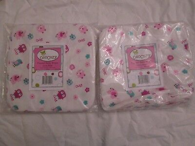 OsoCozy Flannel Baby Wipes Girls Print Two 15-packs 100% Cotton Pink Chicks